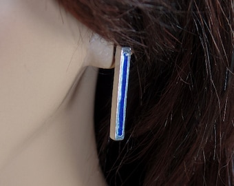 Sterling silver post earrings with vitreous enamel, custom colors, minimalist, simple, elegant