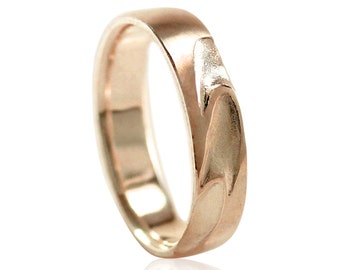 Rose Gold Mens Wedding Band, Energy Line in 10k Gold, 14k Gold, 18k Gold, or Palladium, 14k Rose Gold Wedding Band Size 10 Ring or Your Size