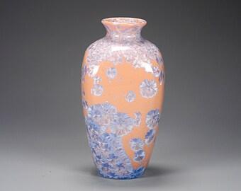 Ceramic Vase -Orange, Blue  - Crystalline Glaze on High-Fire Porcelain - Hand Made Pottery - FREE SHIPPING - #A-1-3877