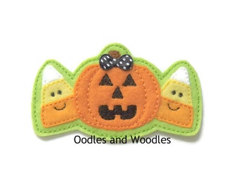Pumpkins And Candy Corn Headband Slider, Pumpkin Embroidered Applique, Fall Applique, Candy Corn Headband Slider, Slider for Headband