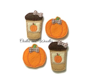 Pumpkin Latte and Pumpkin Appliques, Pumpkin Appliques, Fall Appliques, Pumpkin Latte Felties, Latte and Pumpkin Felties, Felties For Fall