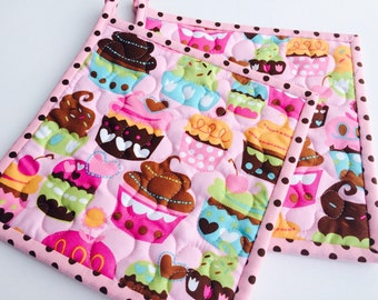 Cupcake Potholders, Quilted Potholders, Fabric Potholders, Cupcake Hotpads