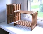 Vintage wooden slat shelf plant stand 70's boho chic