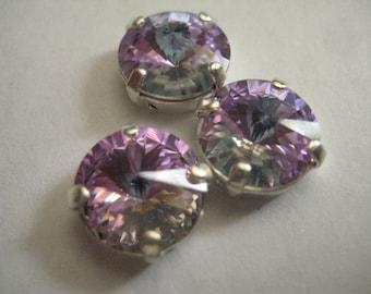 Lot of 4 11mm Vitrail Light Gold Foiled Rivoli Shaped Swarovski Rhinestones in Silver Plated Sew on Settings