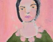 Acrylic Female Portrait Painting. 4x4 Mini Painting. Original Art. Girl Woman Painting. Pink Pompoms.