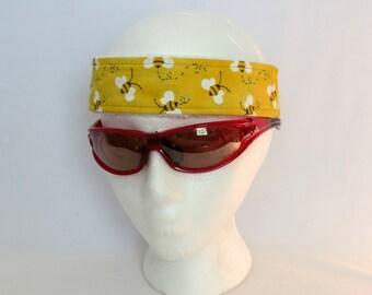 Adjustable Sweatband / Headband - Yellow Bees