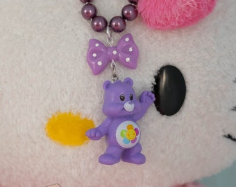 Care Bears Purple Bear Bow Pearls Necklace