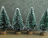 4 Green Bottle Brush Trees - 2-1/2 inch Vintage Style Bottlebrush Christmas Trees -  Set of 4 Miniature Evergreen  Trees