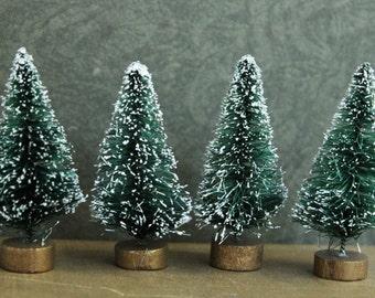 Doll House Trees -  Vintage Style Bottle brush Christmas Trees -  Set of 12 Miniature Evergreen Sisal Trees