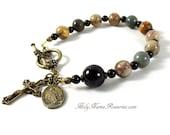 Rosary Bracelet Chaplet Miraculous Meda St Benedict Holy Spirit Bronze Bali Bead Red Creek Jasper Single Decade Prayer Beads