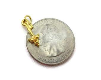 Gold Key Charm - Tiny, Miniature Pendant