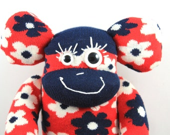 Sock Monkey LUCIO : flowers, blue, navy, red, floral, colorful, handmade plush sock toy softie.