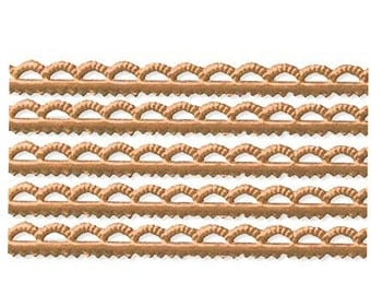 Germany 6 Strips Narrow Scalloped Dresden Antique Gold Paper Trim Edging  DFW 218 AG