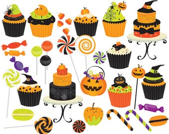 Halloween candy clip art - sweets clipart cupcakes cake cakes lollipops candy canes macarons orange spooky spider candy land commercial use
