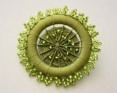 Ornate Beaded Dorset Button Brooch in Chartreuse