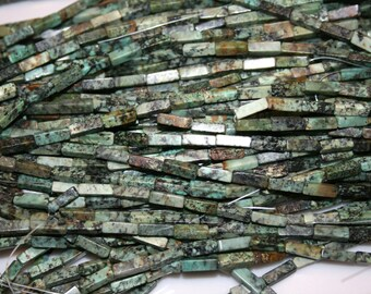 "African Turquoise Rectangle Gemstone Beads 4x13mm   15.75"" strand   81715D"