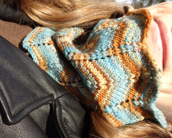 Knit Cowl Pattern in Chevron Stitch for Hand Dyed Art or Variegated Yarn Knit...