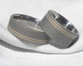 Wedding Ring Set, Titanium with Yellow Gold Pinstripe Inlays Sandblasted