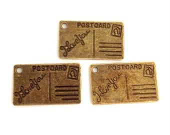6 I Love You Postcard Charm - Antique Bronze - BC14#GW