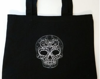 White Embroidered Lacy Skull Black Canvas Tote Washable Goth Bag Creepy Halloween Holiday Gift