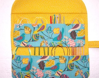 Yellow Blue Bird Print Circular Knitting Needle Case, Crochet Hook Storage Organizer, Double Pointed Needle Holder, Makeup Brushes Roll