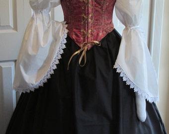 DDNJ Choose Fabrics Reversible Demi Corset Style Bodice Chemise Skirt 3pc Plus Custom Made ANY Size Renaissance Pirate Anime Costume Wench