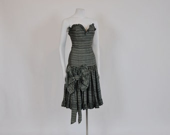 vintage dress /  Strapless Striped Big Bow Vintage Dress