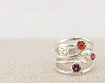 Wife Gift - Stone Ring - Garnet and Pearl Multistone Ring -  Statement Ring - Silver Ring