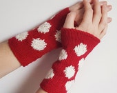 dark red and white polka dot wrist warmers - crimson knitted arm warmers,  winter accessories