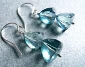 Double Trillion Earrings, Faceted Blue Mystic Quartz on Sterling, Leverback Option, Gift Idea, Gemstone Earrings, Blue earrings