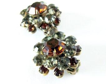1950s 1960s Vintage Rhinestone Earrings Sparkling Amber - Glamour Girl - Clip Earrings