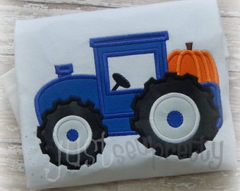 Tractor with Pumpkin Embroidery Applique Design