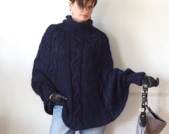 Hand knitted poncho  braided cape sweater,fall fashion cabled poncho, avant garde traffic stoper,hotest fall trend, midnight blue sweater