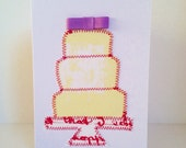Screen Printed Fabric Wedding Cake Card