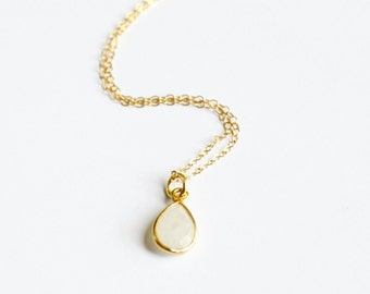 Delicate Gold Necklace, Moonstone Necklace, Gold Necklace, Simple Necklace, Layering Necklace,  Dainty Gold Necklace, Bridesmaid Necklace