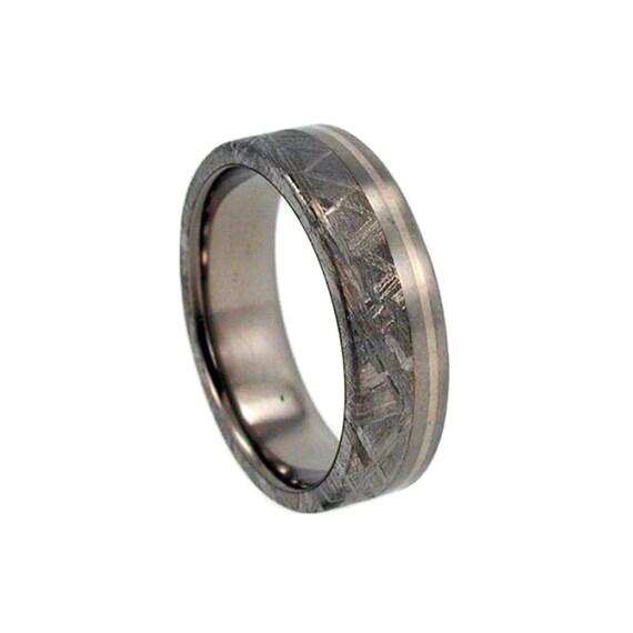 Meteorite Ring, Offset Rose Gold Pinstripe, Meteorite Titanium Band