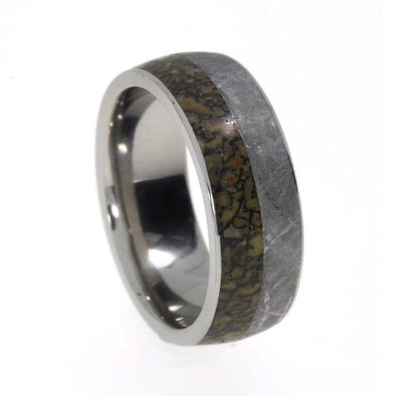 Gibeon Meteorite and Dinosaur Bone Ring, Titanium Wedding Band, Historical Jewelry