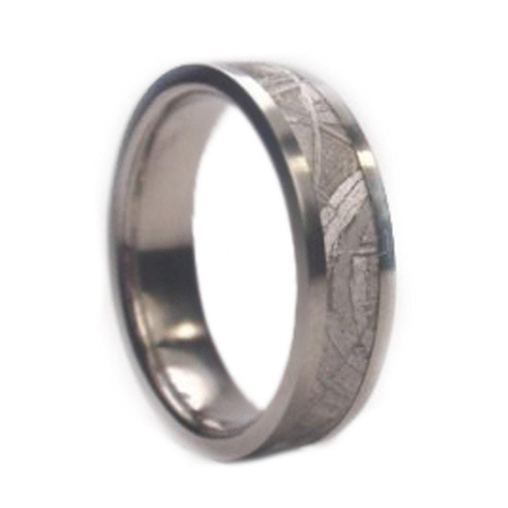 mens meteorite wedding band mens titanium ring by