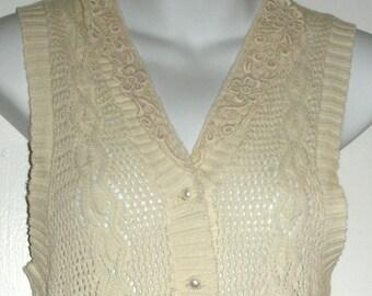 SALE vintage cotton sweater knit vest with lace collar MEDIUM