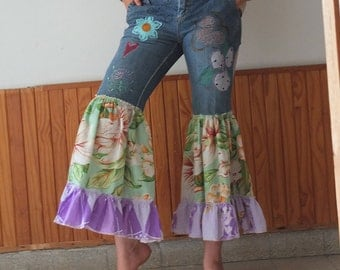 Embroidered Flouncy Jeans - Inspiered by Free Funky Festival Clothes - Upcycled Jeans -Boho Faery Victorian Resplendant Rags