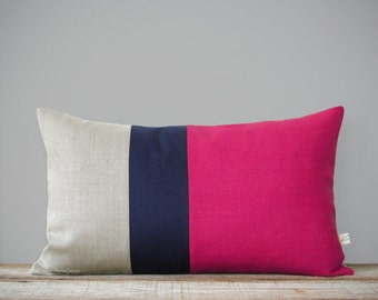 Hot Pink Colorblock Pillow Cover - Navy and Natural Linen (12x20) by JillianReneDecor - Bright Colors - Modern Decor - Lumbar Striped Trio