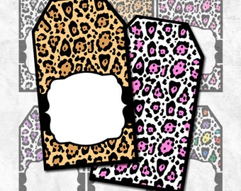 Digital Tags Animal Print Leopard Gift Tags Hang Tags Double-sided JPEG and PNG Instant Download TG127