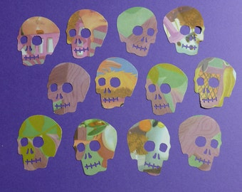 Recycled Chidlrens Book Skull Die Cuts