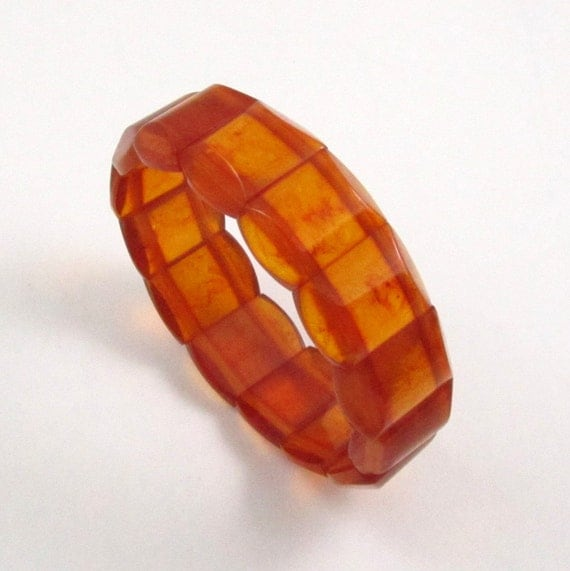 Vintage Natural Baltic Amber Stretch Bracelet