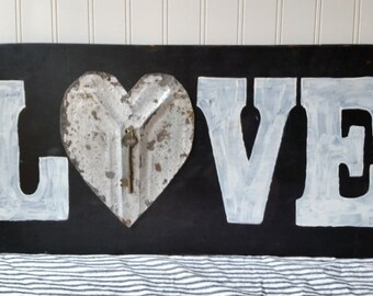 Wooden Love sign vintage tin heart with key black and white Romantic decor wedding anniversary sign