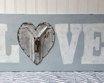 Handpainted wooden Love sign pale grey gray white upcycled vintage tin heart with key Farmhouse wedding anniversary sign