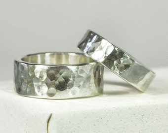Hammered Silver Ring Set, Matte Finish Hand Forged Wedding Bands, Unisex Rings, Affordable, Sea Babe Jewelry