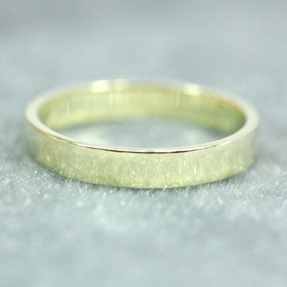 Green Gold Ring 14K 3x1mm Flat Edge Ring Solid Gold Wedding