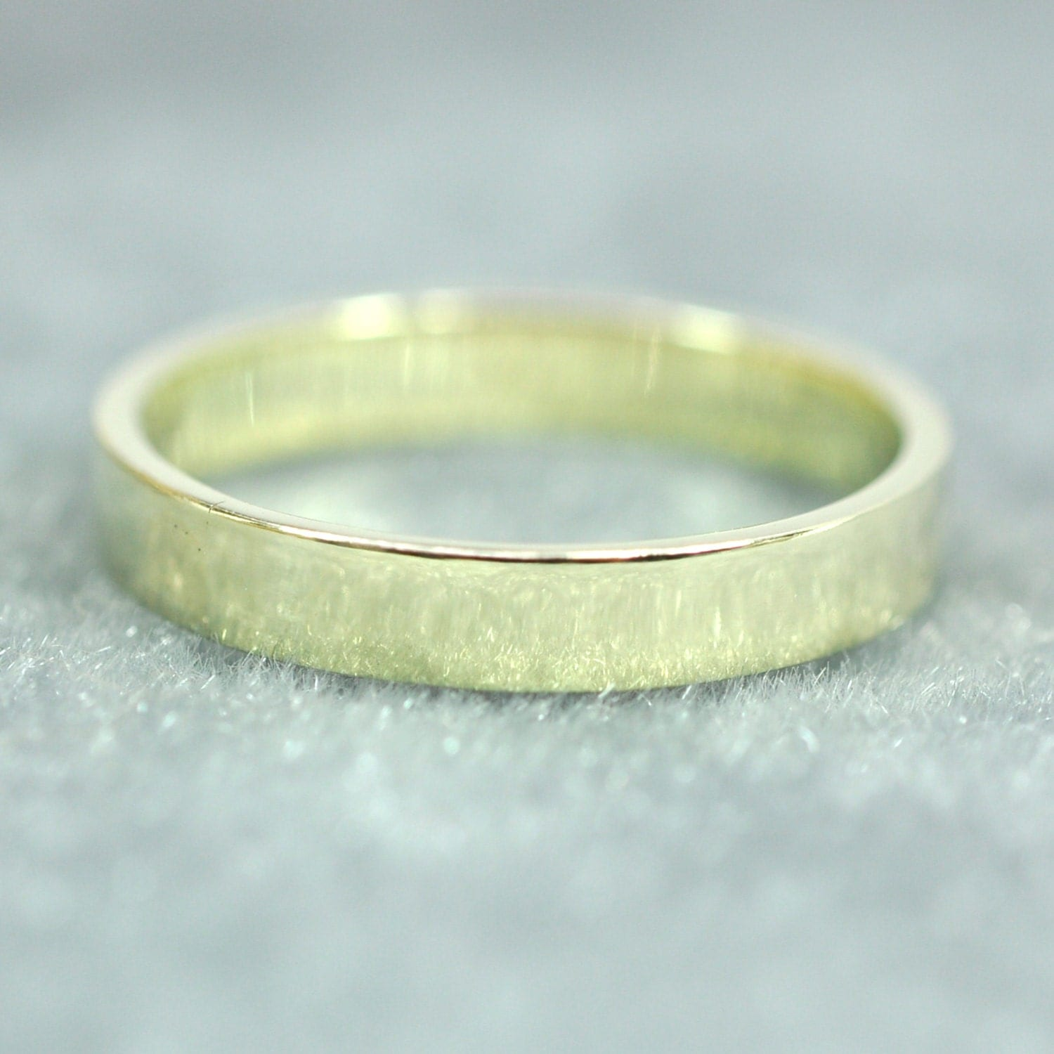 14K Green Gold Mens Wedding Band Hammered Gold Ring 8mm