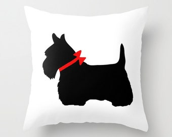 scottie dog throw pillow scotty dog pillow black dog pillow decorative pillow cover
